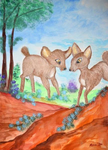 Woodland Animals Mixed Media - Young At Heart by Maria Urso