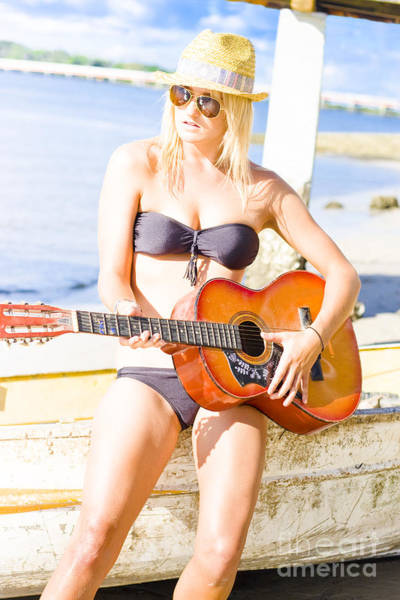 Strum Wall Art - Photograph - Young Attractive Blonde Woman Playing Guitar by Jorgo Photography - Wall Art Gallery