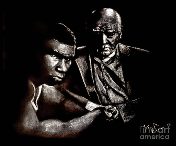 Wall Art - Drawing - Young Boxer And Soon To Be World Champion Mike Tyson And Trainer Cus Damato by Jim Fitzpatrick