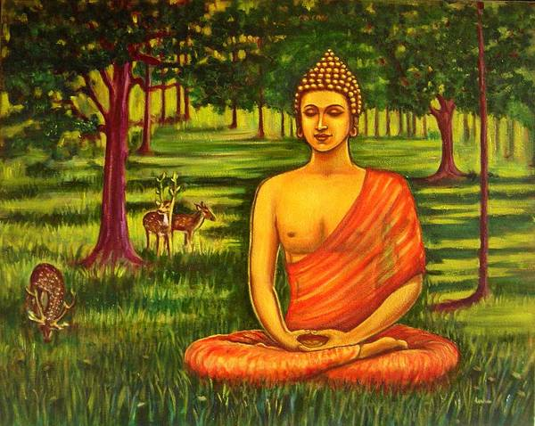 Usha Painting - Young Buddha Meditating In The Forest by Usha Shantharam