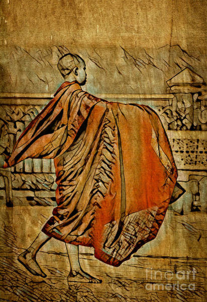 Art Print featuring the mixed media Young Buddhist Monk by Lita Kelley