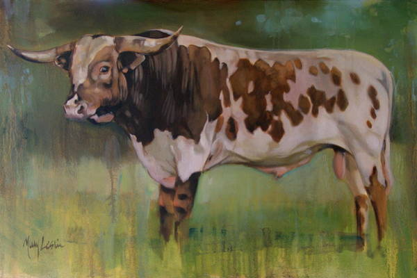 Longhorn Painting - Young Bull by Mary Leslie