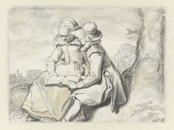 Painting - Young Couple Reading A Book Together  Esaias Van De Velde  Possibly   1625  1630 by Artistic Panda
