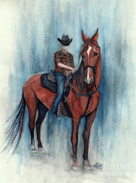 Faceless Painting - Young Cowboy On A Western Horse by Janine Riley