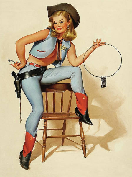 Wall Art - Painting - Young Cowgirl Sheriff Holding Keys Of Your Heart by Long Shot