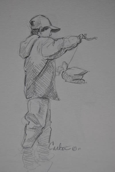 Duck Hunting Drawing - Young Duck Hunter Sketch. by Calvin Carter