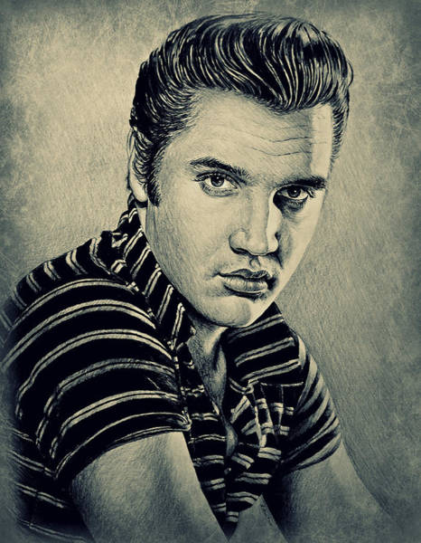 Handsome Drawing - Young Elvis by Andrew Read