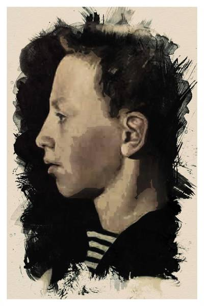 Painting - Young Faces From The Past Series By Adam Asar, No 51 by Adam Asar