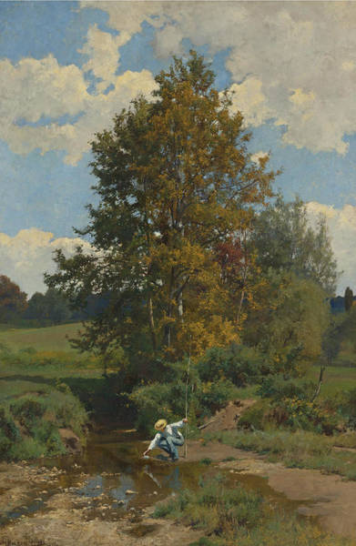 Bolton Wall Art - Painting - Young Fisherman By A Stream by Hugh Bolton Jones
