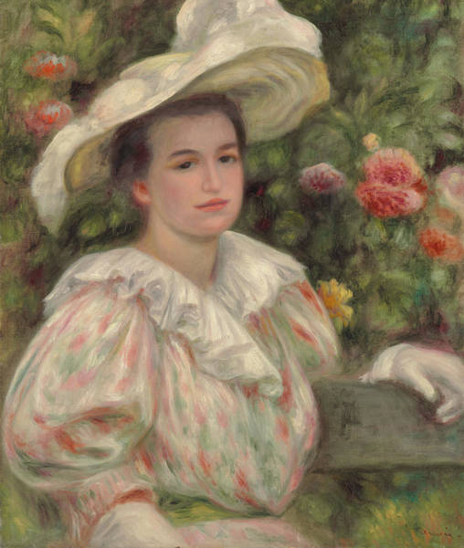 Wall Art - Painting - Young Girl Amongst Flowers Or Woman With White Hat by Pierre Auguste Renoir