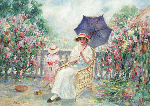 Girly Girl Painting - Young Girl And Child On A Terrace by Henri Lebasque