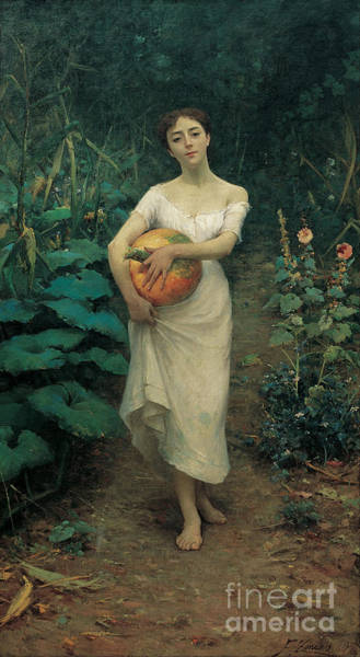 Fausto Zonaro Painting - Young Girl Carrying A Pumpkin by Celestial Images