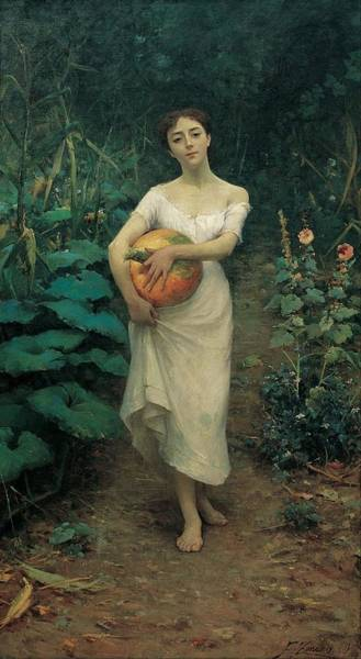 Fausto Zonaro Painting - Young Girl Carrying A Pumpkin by MotionAge Designs