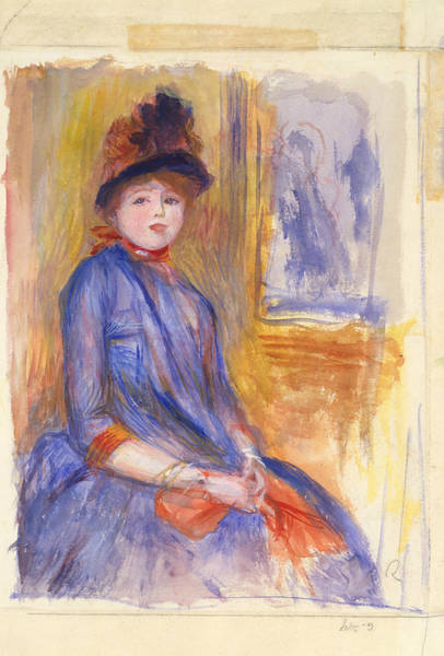 Painting - Young Girl In A Blue Dress by Auguste Renoir