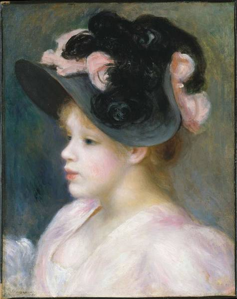 Painting - Young Girl In A Pink And Black Hat By Auguste Renoir, Circa 1891 by Artistic Panda
