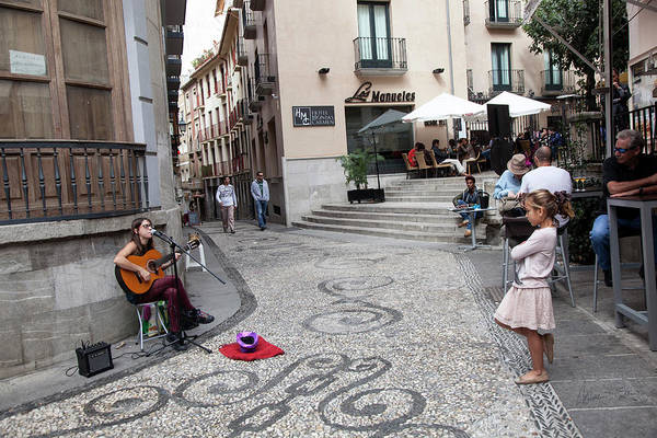 Wall Art - Photograph - Young Girl Listening To Guitar - Grenada - Spain by Madeline Ellis