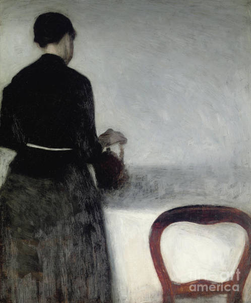 Wall Art - Painting - Young Girl Pouring Tea  by Vilhelm Hammershoi
