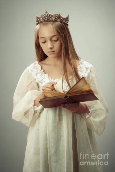 Edwardian Photograph - Young Girl Reading A Book by Amanda Elwell