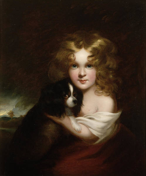 King Charles Spaniel Painting - Young Girl With A Dog by Margaret Sarah Carpenter