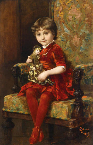 Wall Art - Painting - Young Girl With Doll by Alois Hans Schram