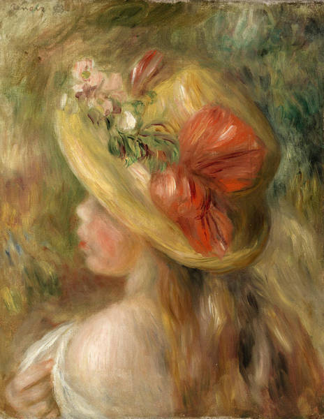 Wall Art - Painting - Young Girl With Hat by Pierre-Auguste Renoir