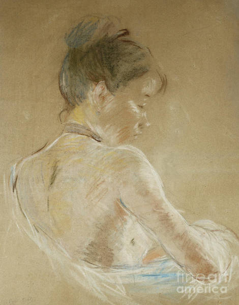 Wall Art - Pastel - Young Girl With Naked Shoulders by Berthe Morisot