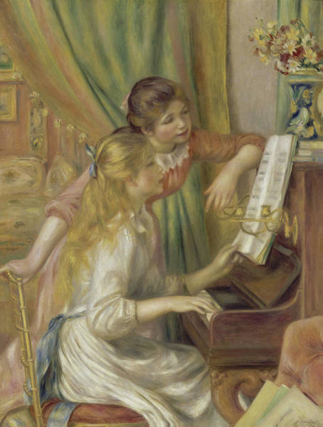 Painting - Young Girls At The Piano By Auguste Renoir 1892 by Movie Poster Prints