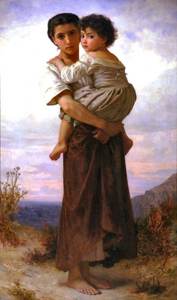 Painting - Young Gypsies 1879 by William Bouguereau