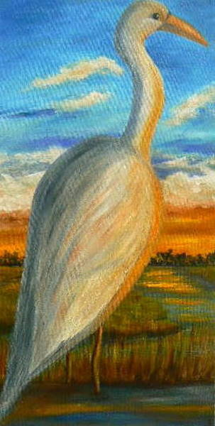 Painting - Young Heron At Sunset Sold by Susan Dehlinger
