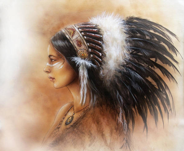 Native American Culture Painting - Young Indian Woman Wearing A Big Feather Headdress A Profile Portrait On Structured Abstract by Jozef Klopacka