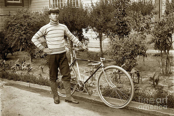 Photograph - Young Japanese Man With His Bike Circa 1915 by California Views Archives Mr Pat Hathaway Archives