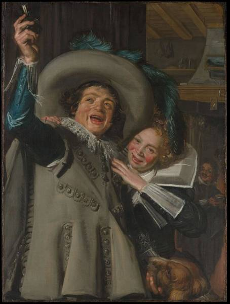 Painting - Young Man And Woman In An Inn, Frans Hals by Artistic Panda