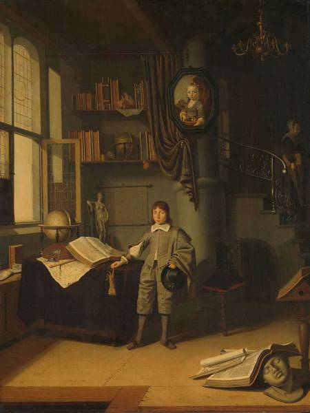 Painting - Young Man In A Study  Adriaen Van Gaesbeeck, 1640   1650 by Artistic Panda