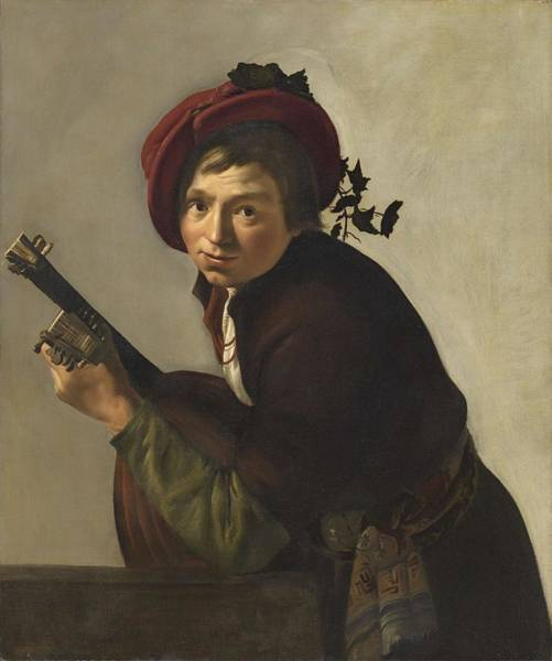 Painting - Young Man Playing A Theorbo Ca. 1642 - 1645 By Jan Gerrit Van Bronchorst by Artistic Panda