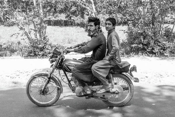 Photograph - Young Men On Motorbike by SR Green
