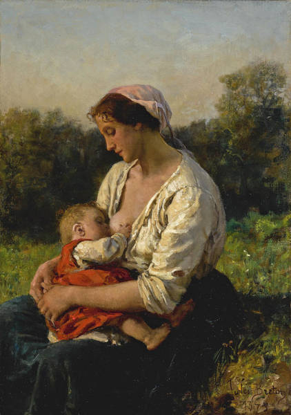 Wall Art - Painting - Young Mother Nursing Her Child by Jules Breton