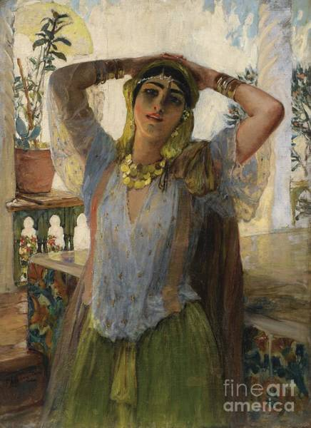 Painting - Young Oriental Woman On A Terrace by Celestial Images