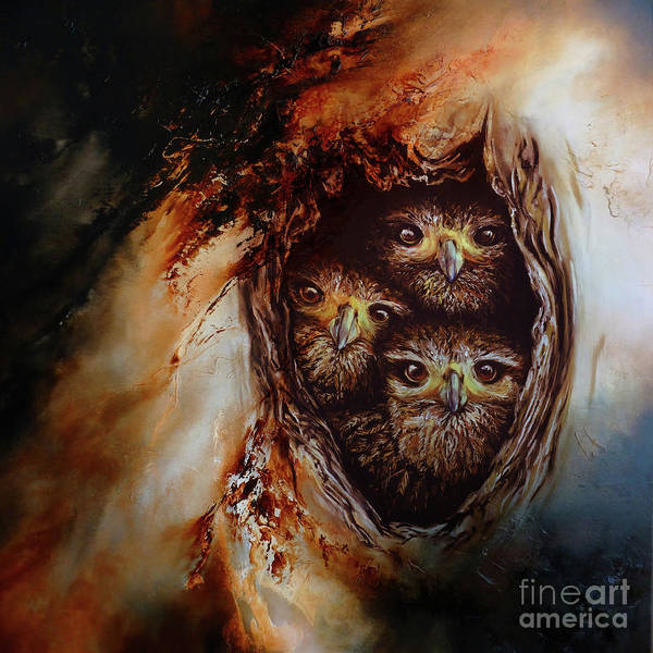 Wall Art - Painting - Young Owls by Gull G