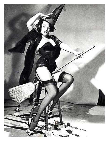 Wall Art - Photograph - Young Pin Up Witch Posing With Broom by Long Shot