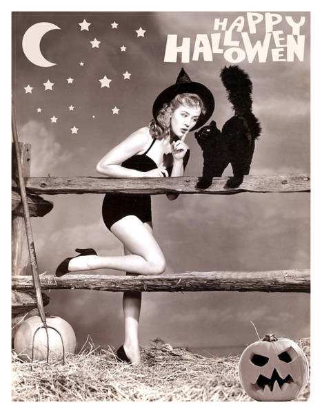 Wall Art - Photograph - Young Pin Up Witch With Black Cat by Long Shot