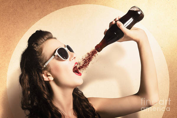 Wall Art - Photograph - Young Pinup Woman In Sunglasses Drinking Soda by Jorgo Photography - Wall Art Gallery