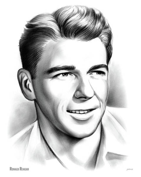 United States Drawing - Young Reagan by Greg Joens