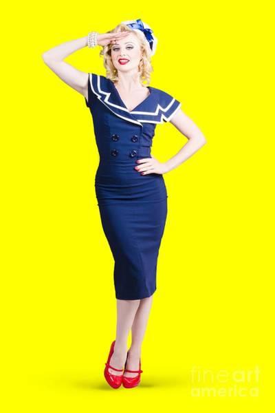 Joyful Photograph - Young Retro Pinup Girl Wearing Sailor Uniform by Jorgo Photography - Wall Art Gallery