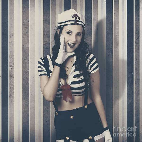 Lively Photograph - Young Retro Pinup Woman Shouting Maritime Surprise by Jorgo Photography - Wall Art Gallery