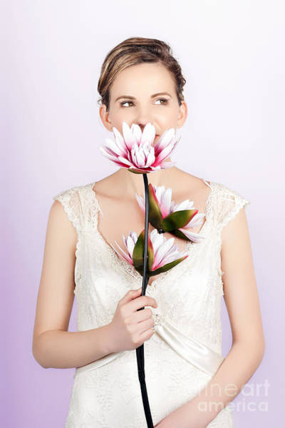 Young Romantic Woman With Lotus Flowers Art Print