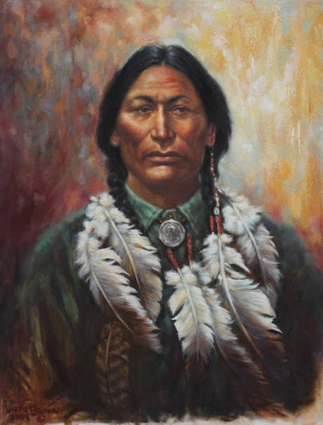 Sioux Wall Art - Painting - Young Sittingbull by Harvie Brown