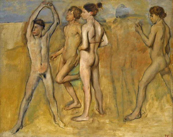 Wall Art - Painting - Young Spartan Girls Provoking Boys by Edgar Degas