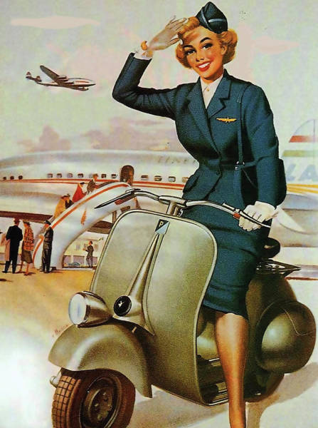 Wall Art - Painting - Young Stewardess Salute Us With Small Motorcycle by Long Shot