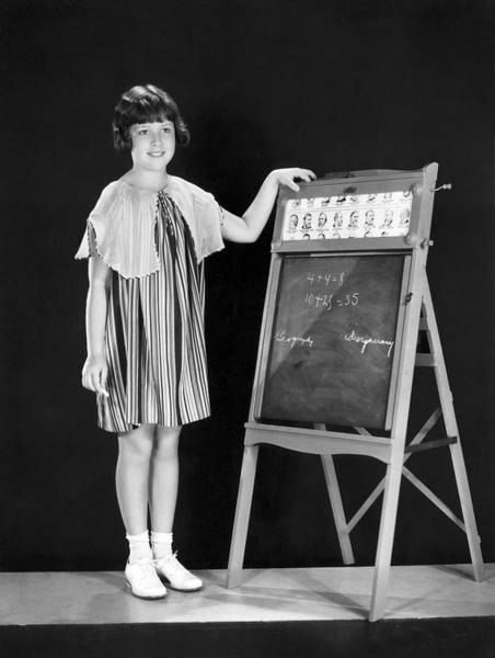 Child Actress Wall Art - Photograph - Young Student At Blackboard by Underwood Archives