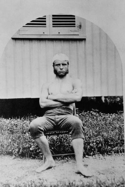 Wall Art - Photograph - Young Teddy Roosevelt Shirtless - 1879 by War Is Hell Store